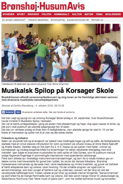 """Brønshøj-Husum Avis 4. okt. 2016 """"Spilop"""""""